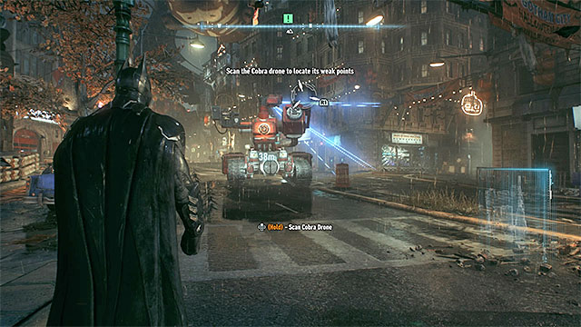 Scan separate parts of the tank while staying out of its range of fire - Scan the Cobra tank to discover its weakness - Main story - Batman: Arkham Knight - Game Guide and Walkthrough