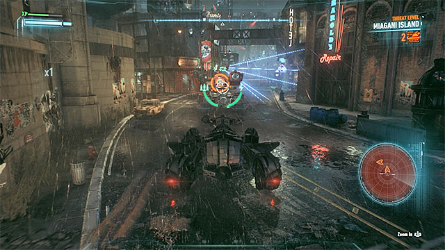 Carefully aim at the Cobra tanks one by one, so not to get spotted - Take Ivy to the Botanical Gardens | Main story - Main story - Batman: Arkham Knight Game Guide & Walkthrough