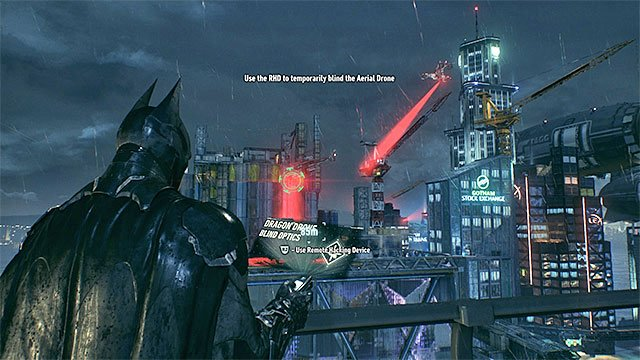 Target the flying drone and hack it - Destroy the Arkham Knights radar network | Main story - Main story - Batman: Arkham Knight Game Guide & Walkthrough