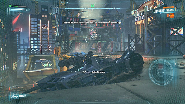 Attack the missile launcher and be ready to dodge with the Batmobile when it is fired at - Disable the missile launchers protective shields | Main story - Main story - Batman: Arkham Knight Game Guide & Walkthrough