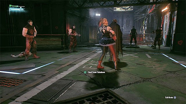 Wait for Harley to approach the vent shaft exit and launch a Team Attack - Stop Harley Quinn from taking the Joker infected (continued) | Main story - Main story - Batman: Arkham Knight Game Guide & Walkthrough
