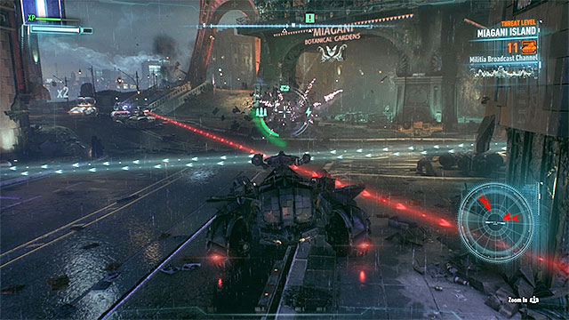 Use dodges to prevent the Batmobile from destruction - Stop the enemies attacking the Botanical Gardens | Main story - Main story - Batman: Arkham Knight Game Guide & Walkthrough