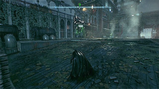 Position the robot on the right pressure plate and sneak up on him from the left - Riddler trophies on Bleake Island (19-36) | Collectibles - Bleake Island - Collectibles - Bleake Island - Batman: Arkham Knight Game Guide & Walkthrough