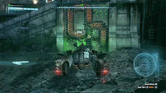 Prepare the winch and release the hook to move the ball with the trophy - Riddler trophies on Bleake Island (19-36) | Collectibles - Bleake Island - Collectibles - Bleake Island - Batman: Arkham Knight Game Guide & Walkthrough