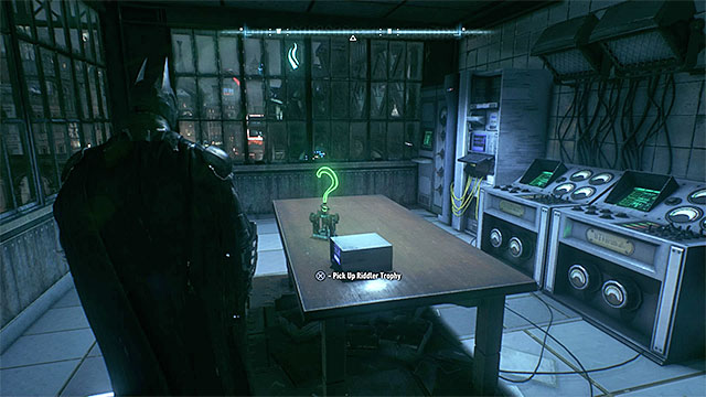 The trophy is lying on the table - Riddler trophies on Bleake Island (19-36) | Collectibles - Bleake Island - Collectibles - Bleake Island - Batman: Arkham Knight Game Guide & Walkthrough