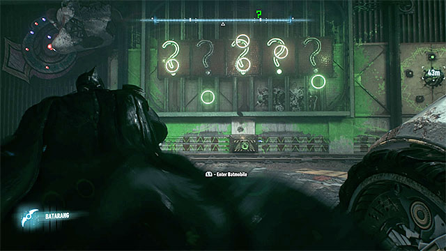 Throw the batarangs at the question marks when the dots are inside the highlighted green circles - Riddler trophies on Bleake Island (19-36) | Collectibles - Bleake Island - Collectibles - Bleake Island - Batman: Arkham Knight Game Guide & Walkthrough