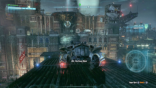 Carefully ride through the roofs (you can help yourself by switching to Batmobiles combat mode) - Riddler trophies on Bleake Island (19-36) | Collectibles - Bleake Island - Collectibles - Bleake Island - Batman: Arkham Knight Game Guide & Walkthrough