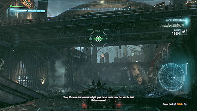 The round sign can be found under the bridge - Riddler trophies on Bleake Island (19-36) | Collectibles - Bleake Island - Collectibles - Bleake Island - Batman: Arkham Knight Game Guide & Walkthrough