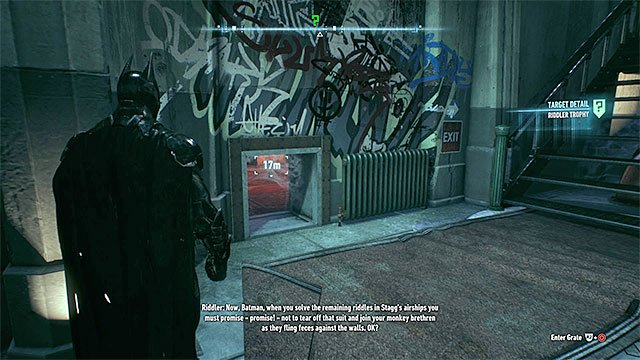 Find the small entrance to the room with the secret - Riddler trophies on Bleake Island (19-36) | Collectibles - Bleake Island - Collectibles - Bleake Island - Batman: Arkham Knight Game Guide & Walkthrough