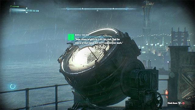 Scan the reflector on the top of GCPD - Riddles on Bleake Island - Collectibles - Bleake Island - Batman: Arkham Knight - Game Guide and Walkthrough