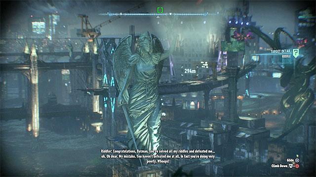 Position yourself in large distance so that you will see the whole statue - Riddles on Bleake Island - Collectibles - Bleake Island - Batman: Arkham Knight - Game Guide and Walkthrough