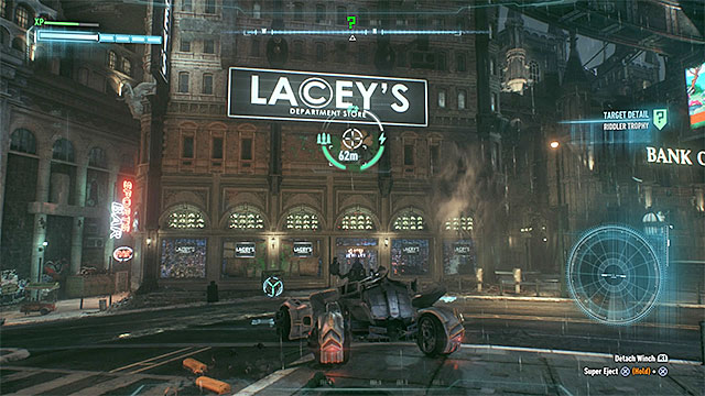The weakened wall will be uncovered only after you use the winch - Riddler trophies on Miagani Island (1-19) | Collectibles - Miagani Island - Collectibles - Miagani Island - Batman: Arkham Knight Game Guide & Walkthrough