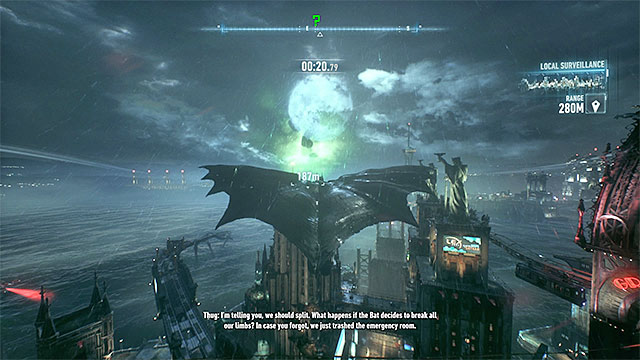 Use the grappling hook launcher to catapult Batman as high as possible - he must effectively avoid the smaller buildings and maintain high flight speed - Riddler trophies on Miagani Island (20-38) - Collectibles - Miagani Island - Batman: Arkham Knight - Game Guide and Walkthrough
