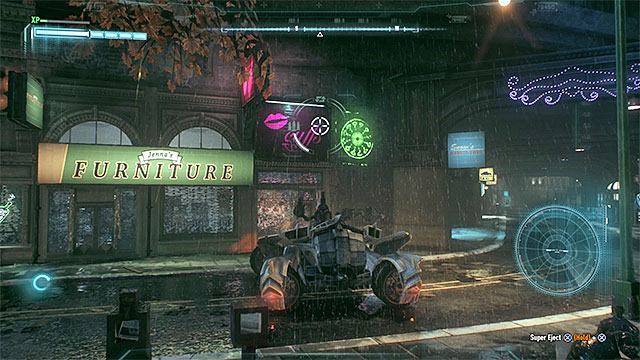 The round green sign shows you the fragment of the wall that can be destroyed - Riddler trophies on Miagani Island (20-38) | Collectibles - Miagani Island - Collectibles - Miagani Island - Batman: Arkham Knight Game Guide & Walkthrough
