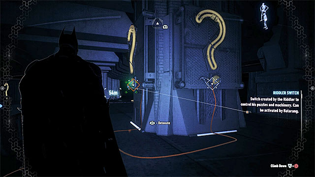 Now, focus on examining the upper ledge - you must find the two question marks shown on the picture above and spray the explosive gel on them - Riddler trophies on Miagani Island (20-38) | Collectibles - Miagani Island - Collectibles - Miagani Island - Batman: Arkham Knight Game Guide & Walkthrough