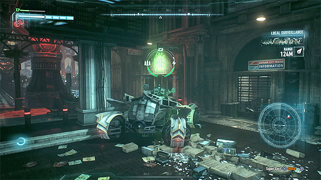Find the round green sign and use 60mm cannon on it - Riddler trophies on Miagani Island (20-38) | Collectibles - Miagani Island - Collectibles - Miagani Island - Batman: Arkham Knight Game Guide & Walkthrough