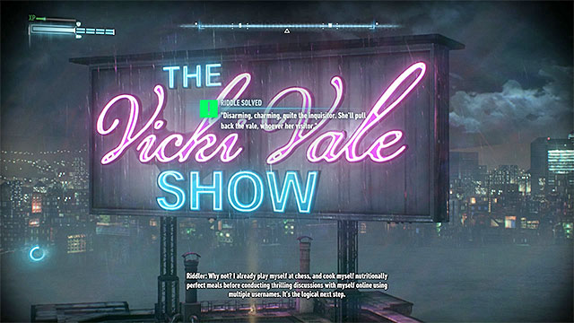 The object to scan is a large and hard to miss neon - Riddles on Miagani Island | Collectibles - Miagani Island - Collectibles - Miagani Island - Batman: Arkham Knight Game Guide & Walkthrough