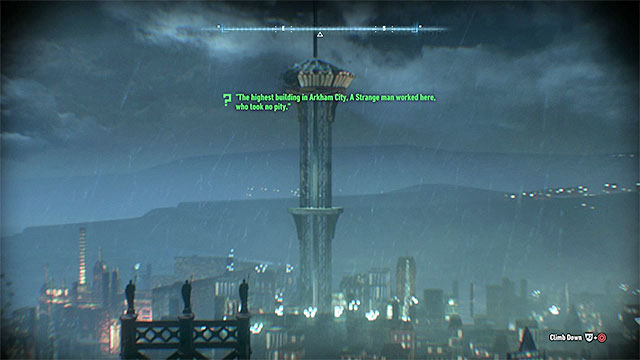 Climb on the roof and zoom the screen so that the Wonder Tower from Arkham City will fit the frame - Riddles on Miagani Island | Collectibles - Miagani Island - Collectibles - Miagani Island - Batman: Arkham Knight Game Guide & Walkthrough