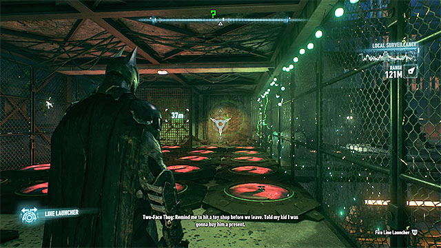 Start by positioning yourself on the green pressure plate - Riddler trophies on Founders Island (1-16) | Collectibles - Founders Island - Collectibles - Founders Island - Batman: Arkham Knight Game Guide & Walkthrough