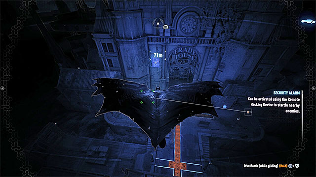 Glide towards the weakened wall - Riddler trophies on Founders Island (1-16) | Collectibles - Founders Island - Collectibles - Founders Island - Batman: Arkham Knight Game Guide & Walkthrough