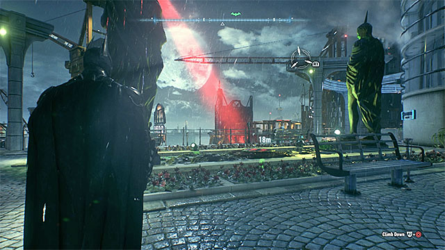 Find the pressure plate on the bridge between the skyscrapers - Riddler trophies on Founders Island (1-16) | Collectibles - Founders Island - Collectibles - Founders Island - Batman: Arkham Knight Game Guide & Walkthrough
