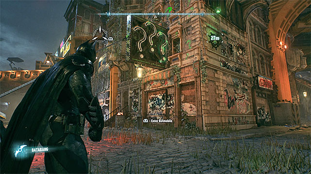 Once you pull the question marks from the wall, hit them with batarangs - Riddler trophies on Founders Island (1-16) | Collectibles - Founders Island - Collectibles - Founders Island - Batman: Arkham Knight Game Guide & Walkthrough
