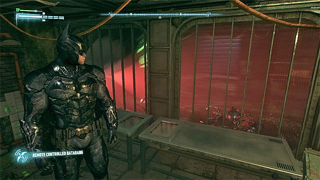 Get rid of the robots with the remote controlled batarang - Riddler trophies on Founders Island (1-16) | Collectibles - Founders Island - Collectibles - Founders Island - Batman: Arkham Knight Game Guide & Walkthrough