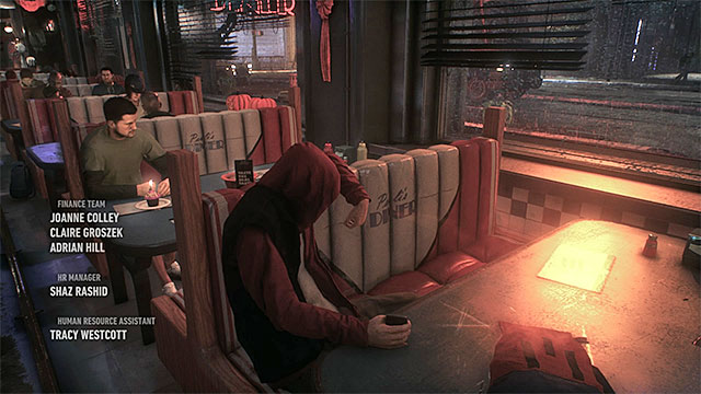 The person accused by one of the civilians is sitting in the corner of the bar. - Prologue | Main story - Main story - Batman: Arkham Knight Game Guide & Walkthrough