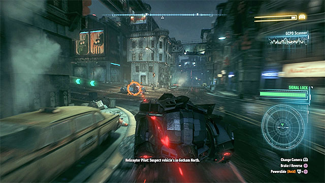 During the pursuit, watch out not to find yourself on the way of enemy attacks (red beam). - Interrogate the driver of the military vehicle | Main story - Main story - Batman: Arkham Knight Game Guide & Walkthrough