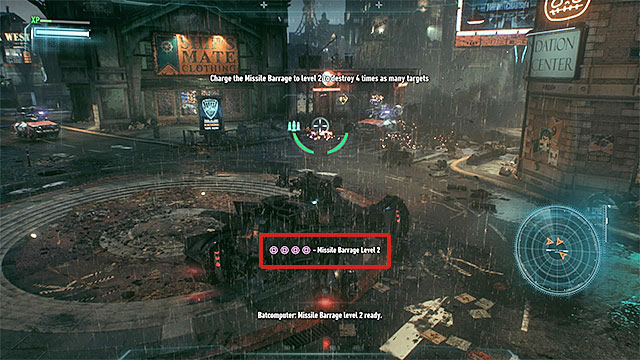 The game always shows an information when Missile Barrage is ready to use. - Run Battle Mode weapon energy system diagnostics | Main story - Main story - Batman: Arkham Knight Game Guide & Walkthrough