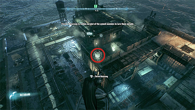 One of the places when you can use a Batarang. - Use the antenna at the Falcone Shipping Yard - Main story - Batman: Arkham Knight - Game Guide and Walkthrough