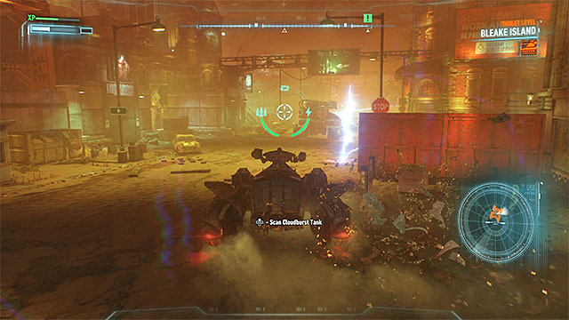 Drive to Arkham Knights vehicle and scan it - Destroy the Cloudburst tank controlled by Arkham Knight | Main story - Main story - Batman: Arkham Knight Game Guide & Walkthrough
