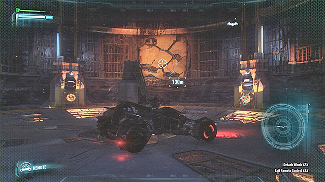 Destroy the weakened wall and raise the large platform to reach the destination in the Batmobile - Find commissioner Gordon in the shopping mall | Main story - Main story - Batman: Arkham Knight Game Guide & Walkthrough