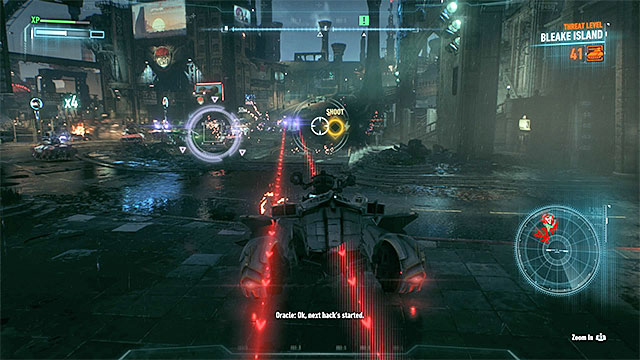 Look around for violet and yellow icons, hitting the machines marked with them will make it much easier for you to win - Defend the Gotham City Police Department | Main story - Main story - Batman: Arkham Knight Game Guide & Walkthrough