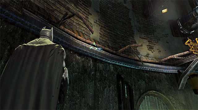 To continue climbing, you need to use the hook on the side ledge shown in the above screenshot - Uplink the National Criminal Database to the batcomputer - Main storyline - Batman: Arkham Origins - Game Guide and Walkthrough