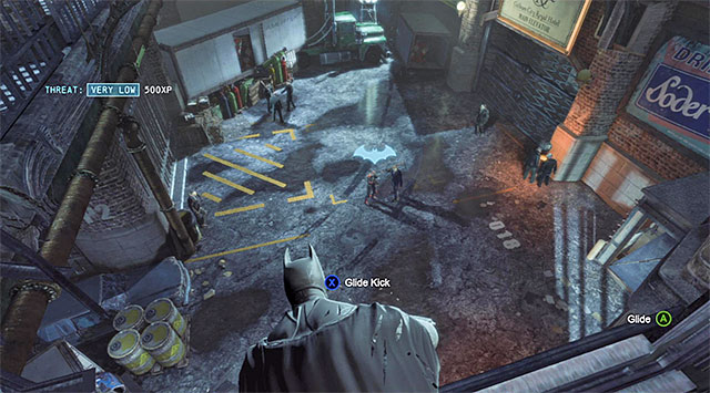 Below, there is a group of ten enemies and I recommend that you glide towards the martial artist shown in the screenshot to eliminate him in the first place - Gain access to the Gotham City Royal Hotel - Main storyline - Batman: Arkham Origins - Game Guide and Walkthrough