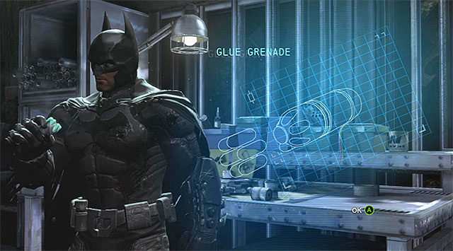 New gadget - Acquire the glue grenade at the workbench - Main storyline - Batman: Arkham Origins - Game Guide and Walkthrough
