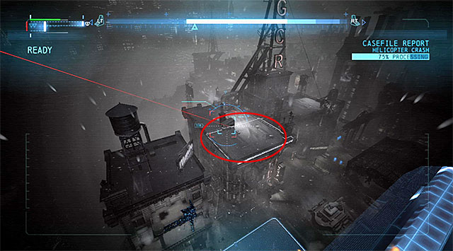 Now you need to locate the places that the shot has been fired from - Case 1224-4: Helicopter Crash - Casefile Reports - Batman: Arkham Origins - Game Guide and Walkthrough