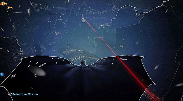 You need to follow the red line again - Case 1224-4: Helicopter Crash - Casefile Reports - Batman: Arkham Origins - Game Guide and Walkthrough