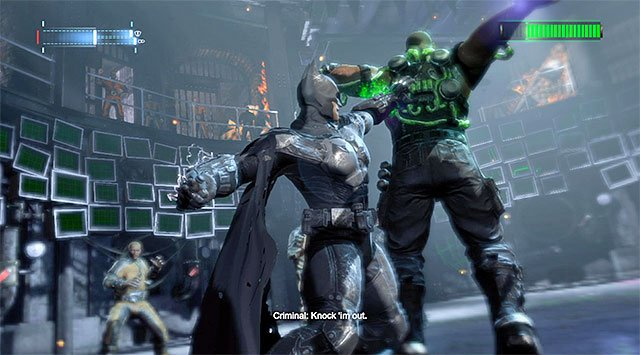 Use the gloves to deprive the boss of his health points on a regular basis - Defeat Bane #2 - Main storyline - Batman: Arkham Origins - Game Guide and Walkthrough
