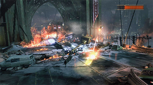 It is a bit more difficult to avoid the bombs - Firefly - Boss fights - Batman: Arkham Origins - Game Guide and Walkthrough
