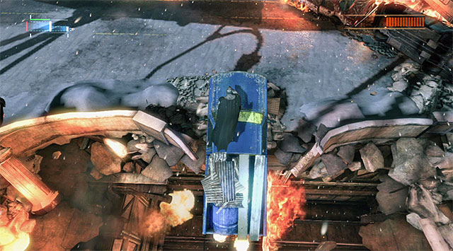 Jump onto the vehicle hanging above the chasm - Firefly - Boss fights - Batman: Arkham Origins - Game Guide and Walkthrough
