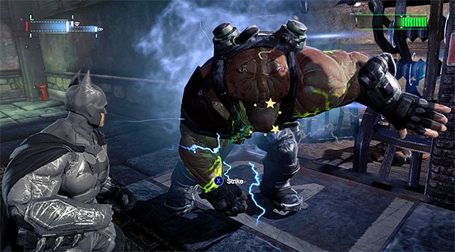 Variant two is way better, and it assumes that you keep pushing Bane onto the electric fence that separates the cages with prisoners from the main corridors - Bane #2 - Boss fights - Batman: Arkham Origins - Game Guide and Walkthrough