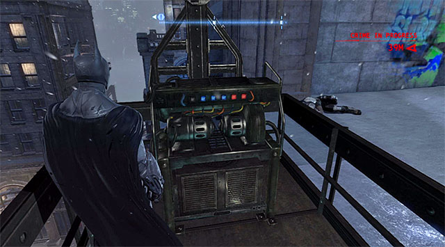 The elevator - The tower in the Diamond District - Comms Towers - Batman: Arkham Origins - Game Guide and Walkthrough