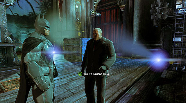 Falcone thug - Gain access to Penguins office - Theatre - Main storyline - Batman: Arkham Origins - Game Guide and Walkthrough