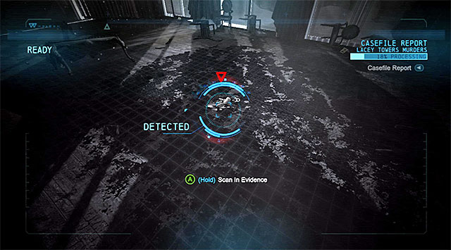 Traces on the floor - Solve the crime scene inside Lacey Towers - Main storyline - Batman: Arkham Origins - Game Guide and Walkthrough