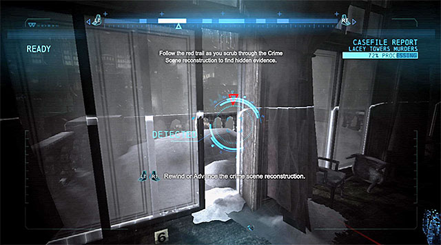 Take a look around the site for possible DNA on the floor, connected this time with the destroyed table - Solve the crime scene inside Lacey Towers - Main storyline - Batman: Arkham Origins - Game Guide and Walkthrough