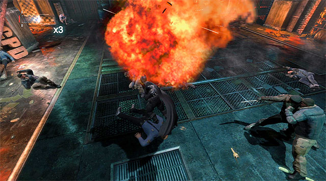 It pays off to detonate the propane tanks, which inflicts a lot of damage to the prisoners - Access the GCPD servers - returning to the server room - Main storyline - Batman: Arkham Origins - Game Guide and Walkthrough