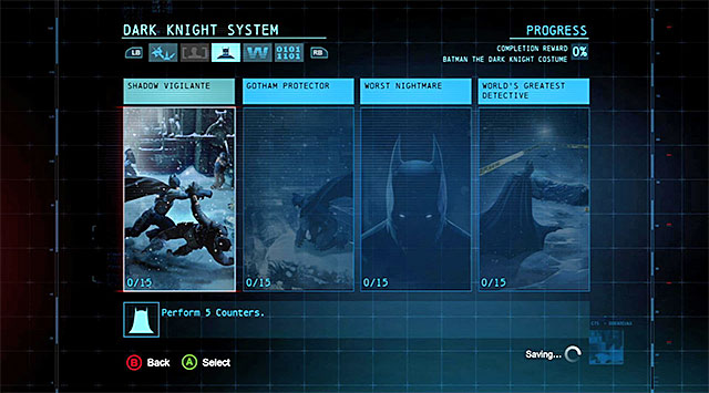 It is a good idea to check on your progress on a regular basis - Dark Knight Challenges - Batman: Arkham Origins - Game Guide and Walkthrough