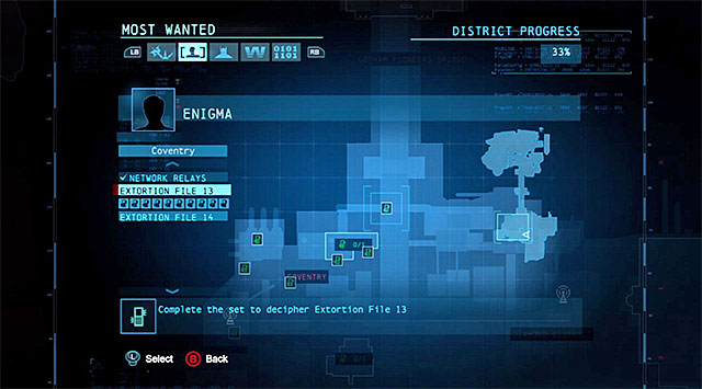 The Enigma's side-mission window informs you of the progress in finding the individual datapacks. - World map - Enigma Datapacks - Batman: Arkham Origins - Game Guide and Walkthrough
